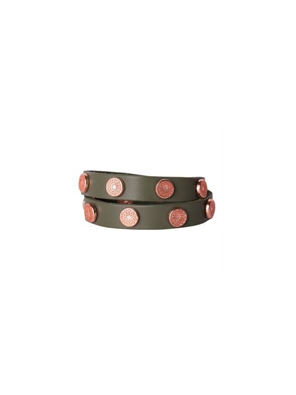 Olive Leather Wrap with Rose Gold Studs